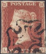 1841 1d Red SG7 Plate 9 'LG'